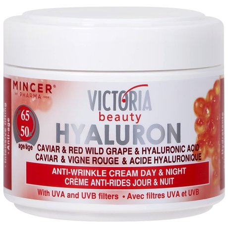 Victoria Beauty Hyaluron, Retinol and Caviar Anti-Wrinkle Lifting Day and Night Cream, UVA UVB Filters – For Ages 50 to 65, 50ml