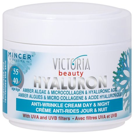 Victoria Beauty Hyaluron, Amber Algae and Microcollagen Anti-Wrinkle Day and Night Cream for Ages 40 to 55 - 50ml