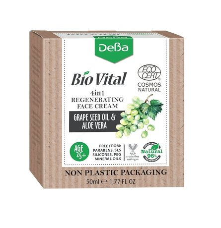 Bio Vital Regenerating Face Cream 4in1 with Grape Seed Oil, Vegan, 96% Natural Ingredients