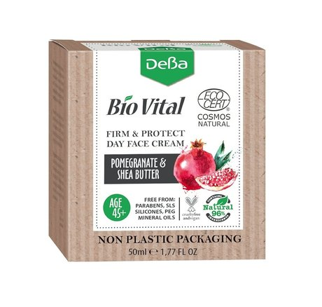 Bio Vital Firm and Protect Day Face Cream with Pomegranate Extract, Vegan, 96% Natural Ingredients