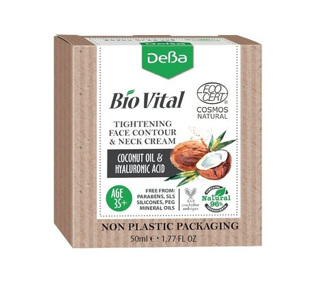Bio Vital Tightening Face Contour and Neck Cream with Coconut Oil, Vegan, 96% Natural Ingredients