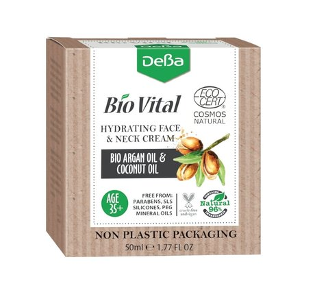 Bio Vital Hydrating Face and Neck Cream with Bio Argan Oil, Vegan, 96% Natural Ingredients
