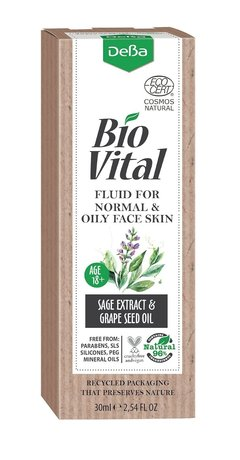 Bio Vital Hydrating Face Fluid with Sage Extract, Vegan, 96% Natural Ingredients