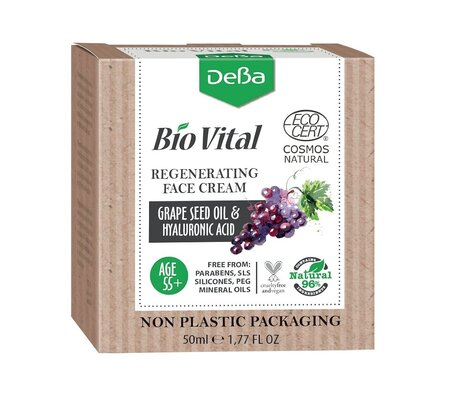 Bio Vital Regenerating Face Cream with Grape Seed Oil, Vegan, 96% Natural Ingredients