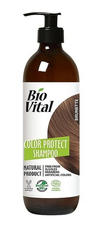 Bio Vital Natural Shampoo for Brunette Hair with Organic Herbs, Vegan 400ml