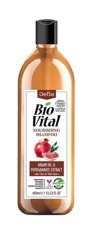 Bio Vital Nourishing Shampoo with Organic Argan and Pomegranate, Vegan 400ml