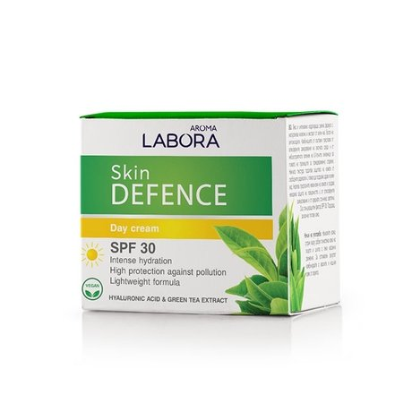 Labora Skin Defence Moisturising Day Cream with Hyaluronic Acid and Green Tea Extract SPF 30, Vegan 50ml