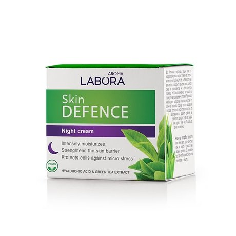 Labora Skin Defence Moisturising Night Cream with Hyaluronic Acid and Green Tea Extract, Vegan 50ml