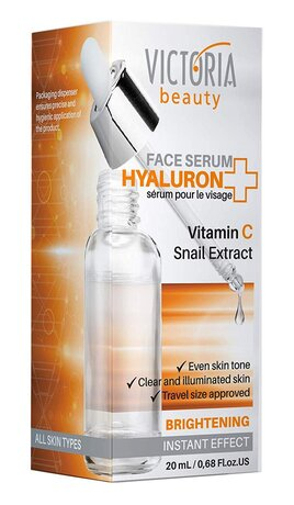 Hyaluron+ Brightening Face Serum with Hyaluronic Acid, Vitamin C and Snail Extract, 20ml