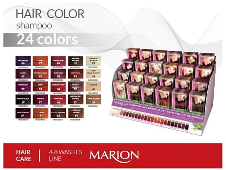 Marion Hair Colouring Shampoo Sachet with Keratin and Aloe, 2 pcs/set